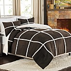 Stowe Microsuede-to-Sherpa Reversible Comforter and Sham Set in Chocolate