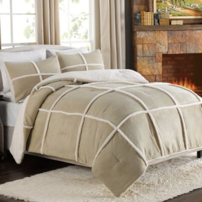 Stowe Microsuede-to-Sherpa Reversible Comforter and Sham Set in Tan
