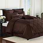 Diamonte Embroidered 4-Piece Reversible Comforter Set in Chocolate
