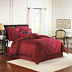 Diamonte Embroidered 4-Piece Reversible Comforter Set in Merlot
