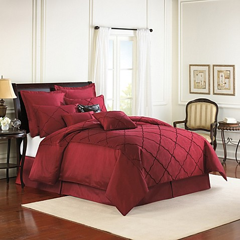 diamonte embroidered 4 piece reversible comforter set in