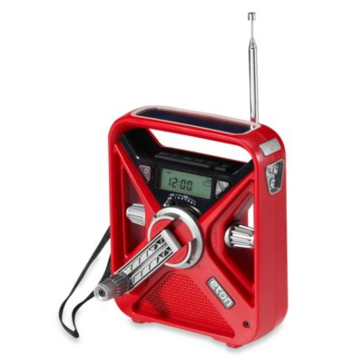 American Red Cross FRX 3 Hand Turbine NOAA AM/FM Weather Alert Radio with Smartphone Charger in Red