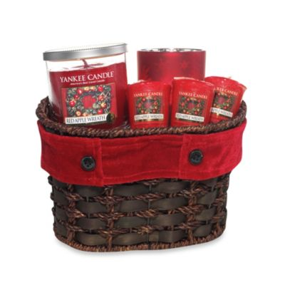 Yankee Candle® Red Apple Wreath™ Velvet Ribbon Basket Gift Set