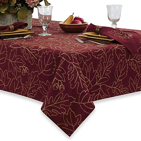 Leaf Embroidery Merlot Tablecloth