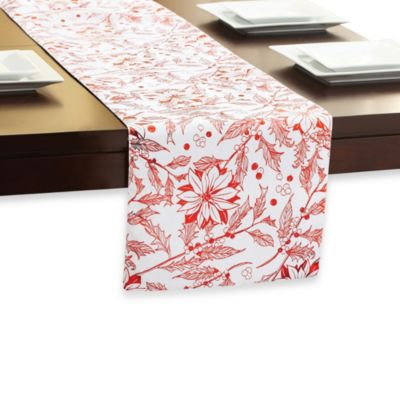 Holly Poinsettia Table Runner