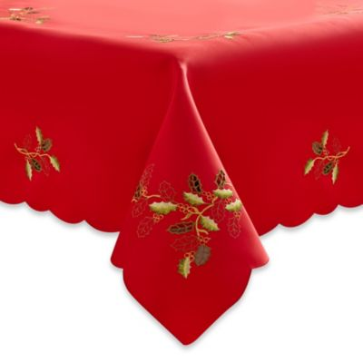 Embroidered Holly Cutwork 52-Inch x 52-Inch Tablecloth in Red