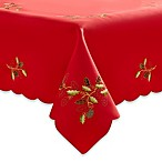 Embroidered Holly Cutwork Tablecloth