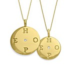 emma&me® Gold Plated Sterling Silver and Diamond HOPE Disc Charm w/Chain