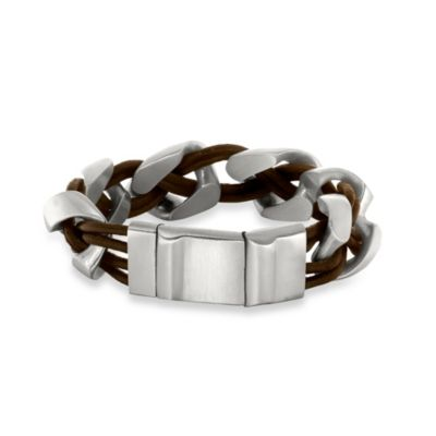 J. Goodman™ Stainless Steel and Black Leather Braided 9.25-Inch Bracelet