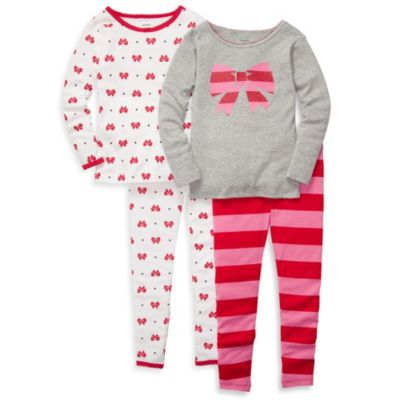 Carter's® Pink Bow Print Snug Fit 4-Piece PJ Set