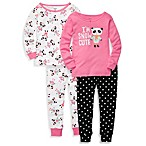 Carter's® Panda Print Snug Fit 4-Piece PJ Set in Black and Pink