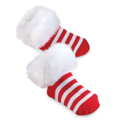 Mud Pie® St. Nick Size 0-12M Fur Cuff Socks