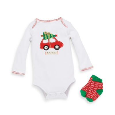 Mud Pie® Size 0-6M Holiday Crawler and Socks 2-Piece Set