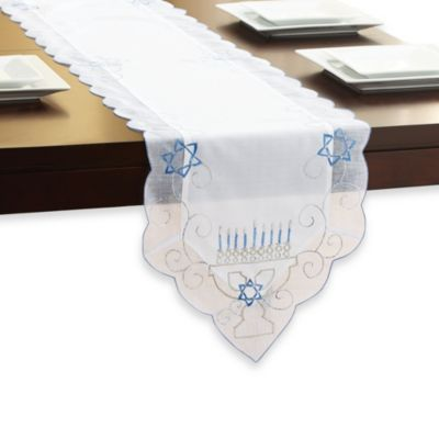Sam Hedaya Hanukkah Sparkle 90-Inch Table Runner
