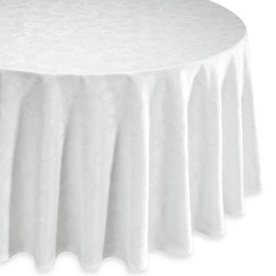 Garnier-Thiebaut Mille Pensees 71-Inch Round Damask Tablecloth in White