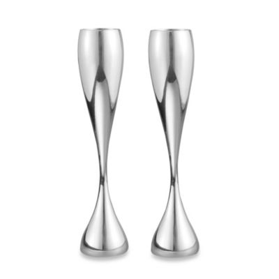 "Nambe 10"" Alloy Bubbly Flutes (Set of 2)"