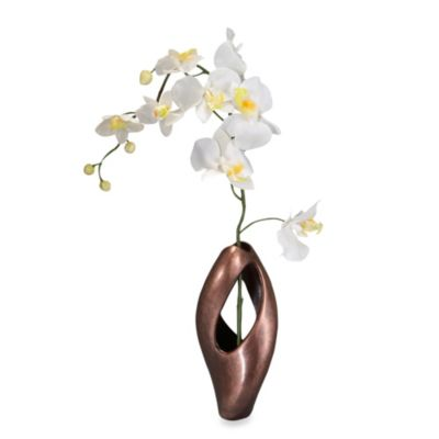 Nambe Mills Heritage Pebble Twist Bud Vase with Orchid