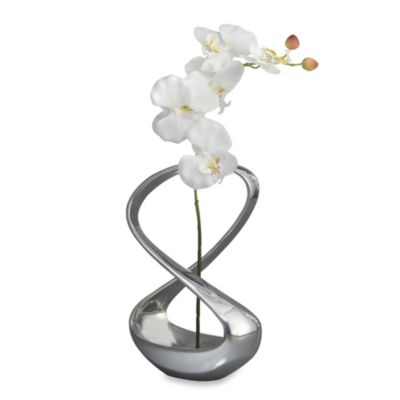 Nambe Infinity Vase with Orchid