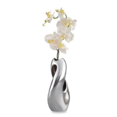 Nambe Heritage Alloy Pebble Twist Bud Vase with Orchid