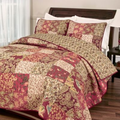 Stanfield Full/Queen Quilt Set in Burgundy