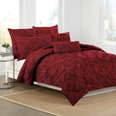 DKNY Diamond Tuck Quilt in Crimson