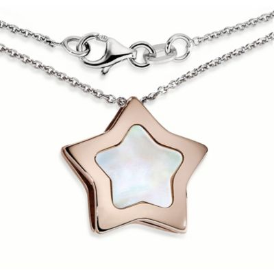 Ze™ Sterling Silver with Rose Gold with Mother-of-Pearl Star Pendant Necklace