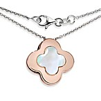 Ze™ Sterling Silver with Rose Gold with Mother-of-Pearl Clover Pendant Necklace