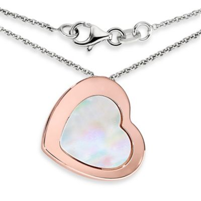 Ze™ Sterling Silver, Rose Gold with Mother-of-Pearl Heart Pendant Necklace