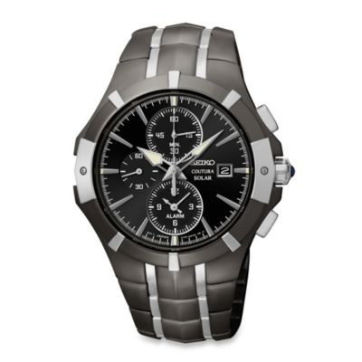 Seiko Men's Coutura Solar Alarm Chronograph in Black