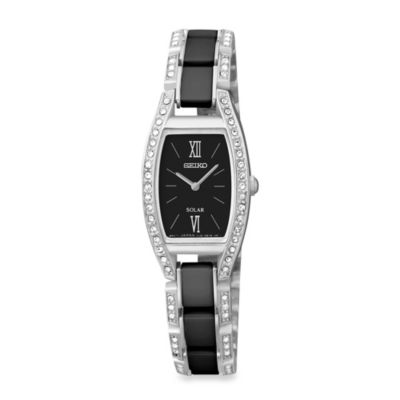 Seiko Ladies Stainless Steel Pulsar Solar Watch with Swarovski Crystals