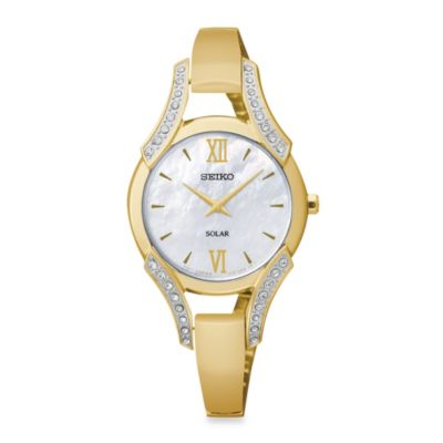 Seiko Ladies Pulsar Modern Solar Watch with Swarovski Crystal Bangle