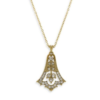 Downton Abbey® Gold-Tone Pave Crystal Bell Drop Necklace