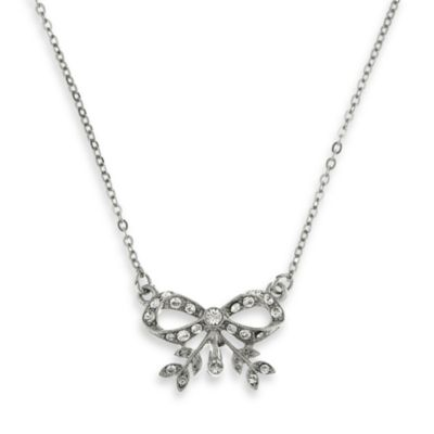 Downton Abbey® Silver-Tone Bow Pendant Necklace