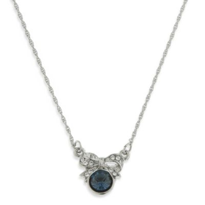 Downton Abbey® Silver-Tone Montana Sapphire Blue Bow Necklace