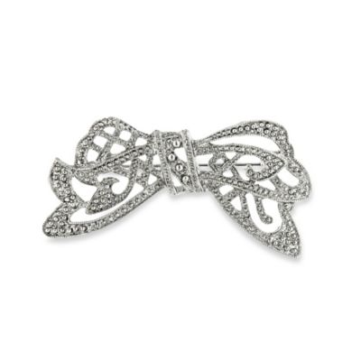 Downton Abbey® Silver-Tone Crystal Edwardian Bow Pin