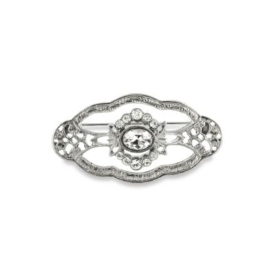 Downton Abbey® Silver-Tone Jeweled Oval Brooch