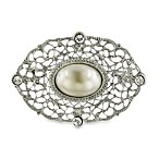 Downton Abbey® Creamy Pearl Silver-Tone Filigree Brooch