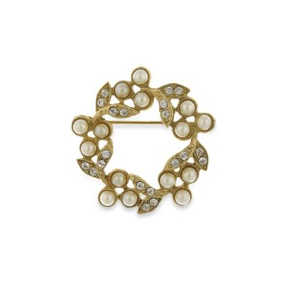 Downton Abbey® Pearl and Crystal Wreath Pin