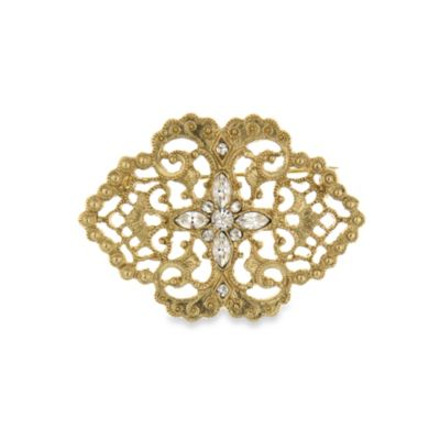 Downton Abbey® Gold-Tone Lace Filigree Brooch