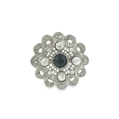Downton Abbey® Silver-Tone and Sapphire ColoredFloral Filigree Pin