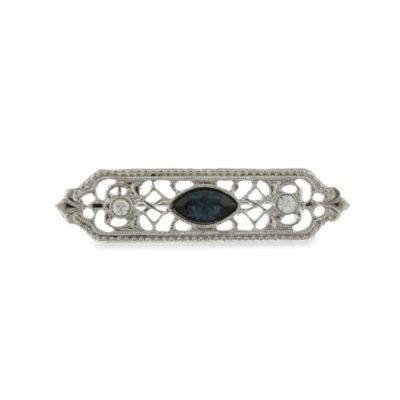 Downton Abbey® Silver-Tone Filigree Pin with Montana Blue Colored Center Stone
