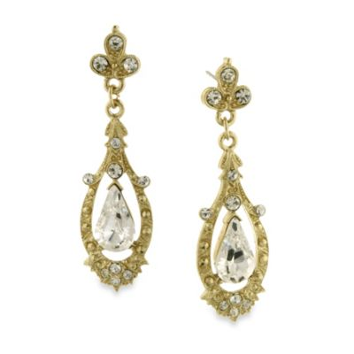Downton Abbey® Gold-Tone Crystal Accent Pave Drop Earrings