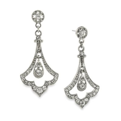 Downton Abbey® Crystal Pave Silver-Tone Fleur Drop Earrings