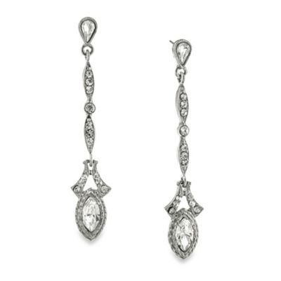 Downton Abbey® White Crystal Linear Drop Earrings