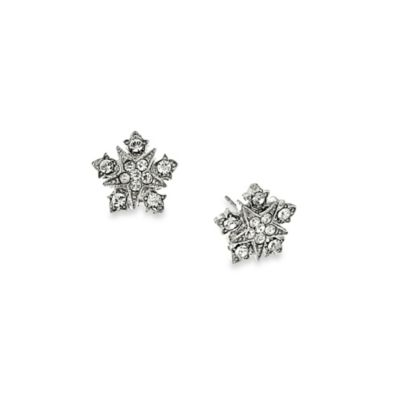 Downton Abbey® Silver-Tone Crystal-Encrusted Starburst Button Earrings