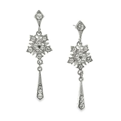 Downton Abbey® Silver-Tone Crystal Starburst Tassel Drop Earrings