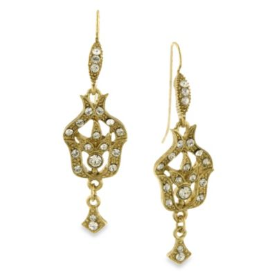 Downton Abbey® Gold-Tone Pave Fleur Drop Earrings w/Crystal Accents