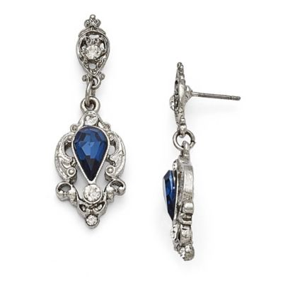 Downton Abbey® Silver-Tone Drop Earrings With Pear-Shaped Montana Sapphire Colored Center