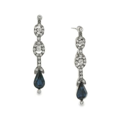Downton Abbey® Silver Tone Crystal Montana Sapphire Colored Pear Drop Jewel Earrings