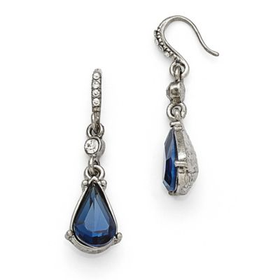 Downton Abbey® Silvertone Crystal Montana Sapphire Colored Pear Drop Earrings With Large Stone